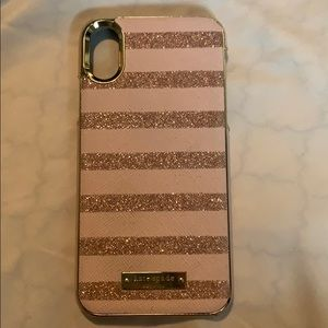 Kate Spade iPhone X/XS Pink Striped Glitter Case